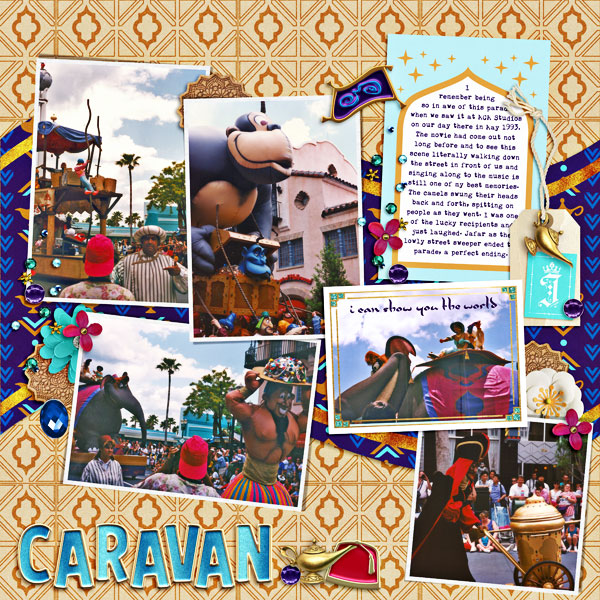 Disney Parade Aladdin Royal Caravan digital scrapbook page layout using Project Mouse (Princess) Jasmine | Kit & Journal Cards by Britt-ish Designs and Sahlin Studio