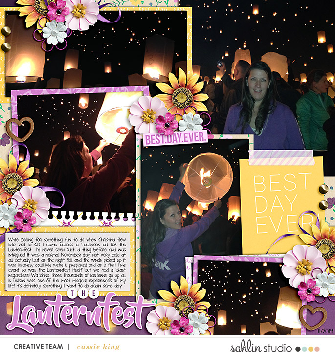 BEST DAY EVER Disney Lantern Festival digital scrapbook page layout using Project Mouse (Princess) Rapunzel | Kit & Journal Cards by Britt-ish Designs and Sahlin Studio