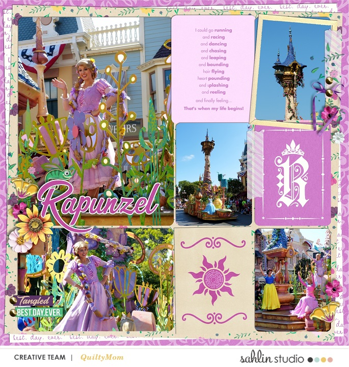 Disney Princess Rapunzel Tangled - Live Your Dreams digital Project Life scrapbook page layout using Project Mouse (Princess) Rapunzel | Kit & Journal Cards by Britt-ish Designs and Sahlin Studio
