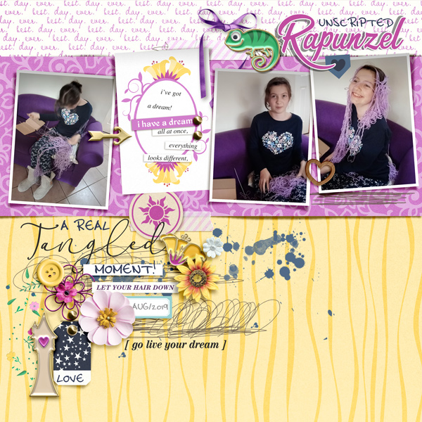 Costume Tangled Rapunzel digital scrapbook page layout using Project Mouse (Princess) Rapunzel | Kit & Journal Cards by Britt-ish Designs and Sahlin Studio