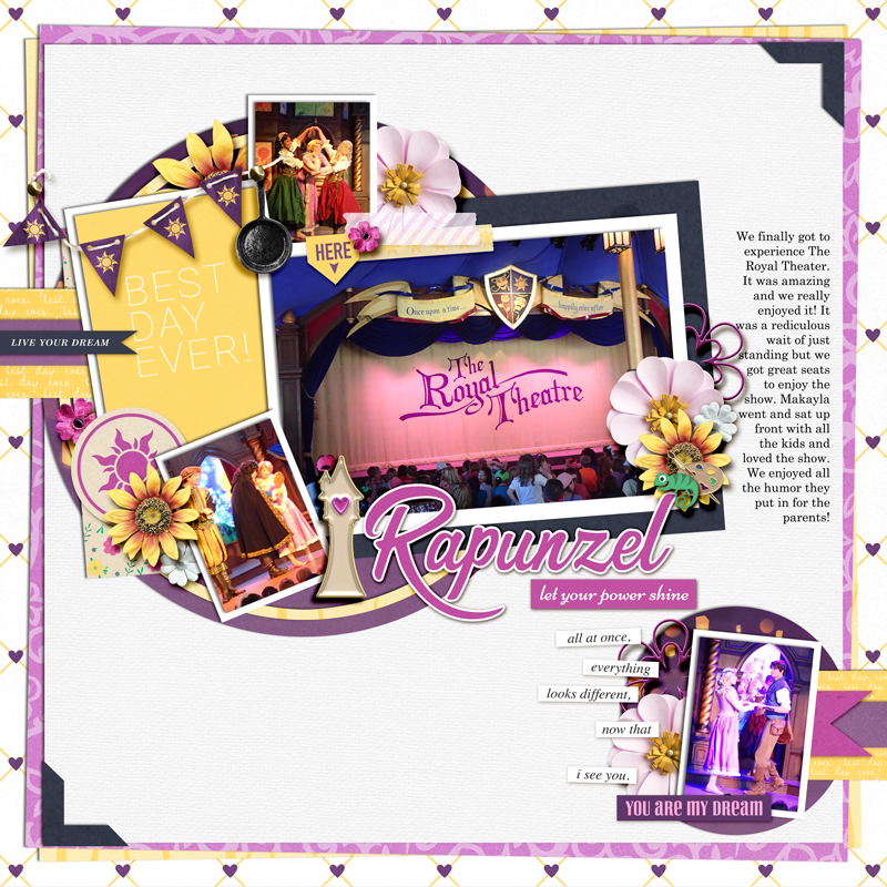 The Royal Theater Tangled Disney Princess Rapunzel - Go Live Your Dreams digital scrapbook page layout using Project Mouse (Princess) Rapunzel | Kit & Journal Cards by Britt-ish Designs and Sahlin Studio