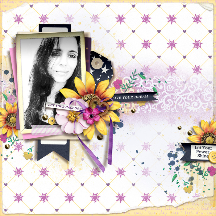 Live Your Dreams digital scrapbook page layout using Project Mouse (Princess) Rapunzel | Kit & Journal Cards by Britt-ish Designs and Sahlin Studio