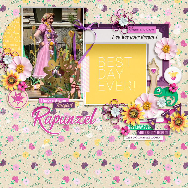 Disney Princess Rapunzel Tangled - Live Your Dreams digital scrapbook page layout using Project Mouse (Princess) Rapunzel | Kit & Journal Cards by Britt-ish Designs and Sahlin Studio
