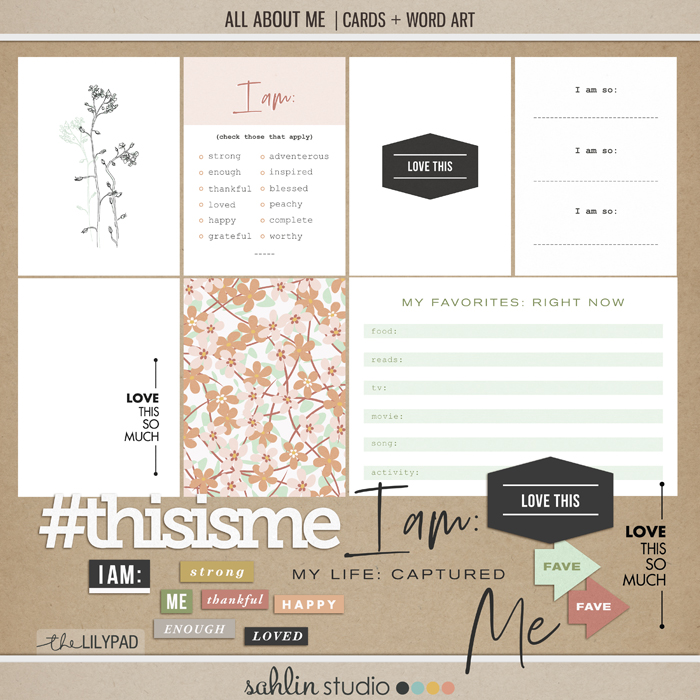 All About Me Journal Cards and Word Art by Sahlin Studio - Perfect for your scrapbooking and Project Life albums!