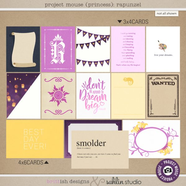 Project Mouse (Princess) Rapunzel | Journal Cards by Britt-ish Designs and Sahlin Studio - Perfect for documenting Disney Tangled Rapunzel or other magical moments in your Project Life / Project Mouse album!!