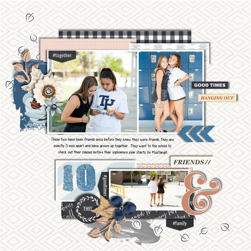 digital scrapbooking layout created by Trish featuring September 2019 FREE Template by Sahlin Studio