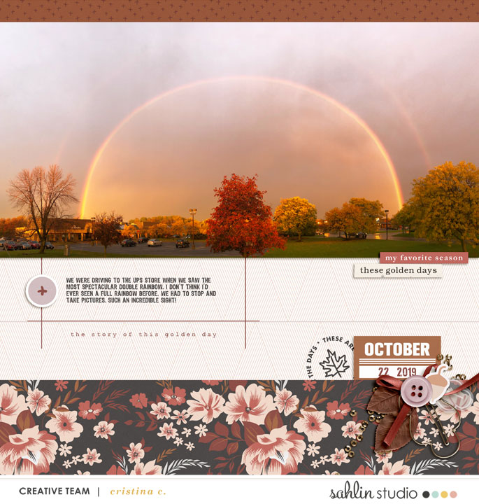 Double Rainbow skyline Digital Scrapbooking page using Autumn Stories | Journal Cards by Sahlin Studio