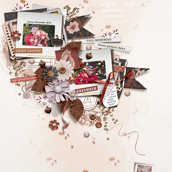 Fall Memories November Digital Scrapbooking page using Autumn Stories | Journal Cards by Sahlin Studio