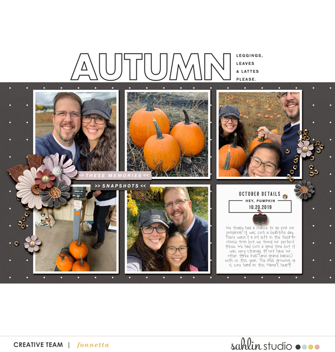 Snapshots of Fall Autumn Digital Scrapbooking page using Autumn Stories | Journal Cards by Sahlin Studio