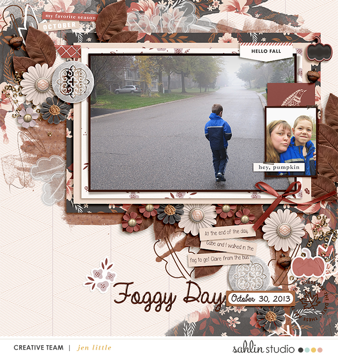 Hey Pumpkin Fall Digital Scrapbooking page using Autumn Stories | Journal Cards by Sahlin Studio