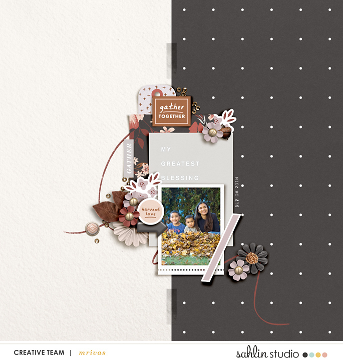 Gather Together Harvest Love Fall Digital Scrapbooking page using Autumn Stories | Journal Cards by Sahlin Studio