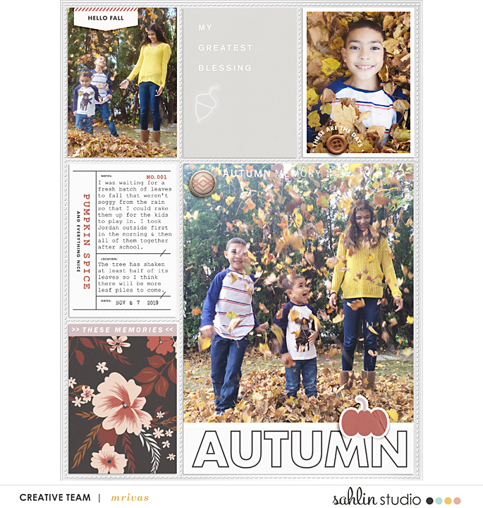 "Autumn Fall Memories ""Alexa Rake the Leaves"" Scrapbooking Project Life page using Autumn Stories 