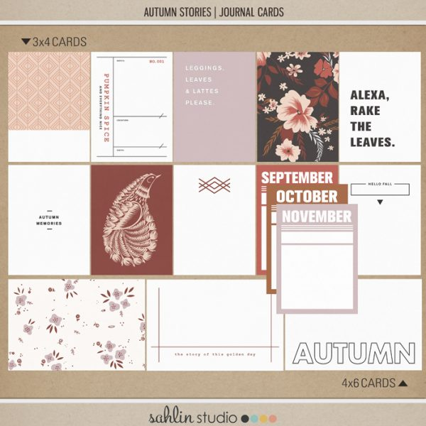 Autumn Stories | Journal Cards by Sahlin Studio - Perfect for documenting your fall / autumn scrapbooks and Project Life albums!!