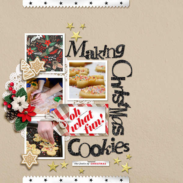 Making Christmas Cookies digital scrapbook page using Holly Days by Sahlin Studio