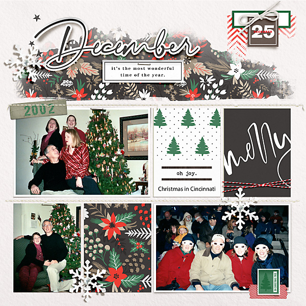 December Merry digital Project Life scrapbook page using Holly Days by Sahlin Studio