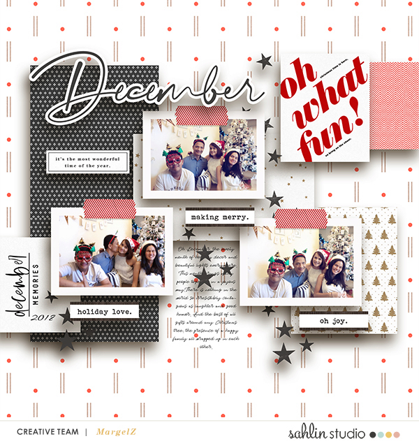 December Oh What Fun digital scrapbook page using Holly Days by Sahlin Studio
