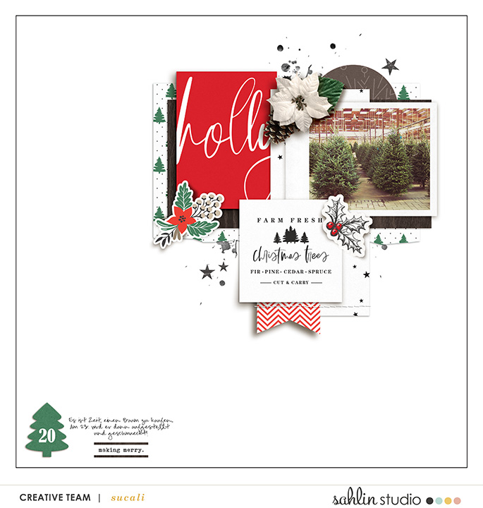 Holly Making Merry digital scrapbook page using Holly Days by Sahlin Studio