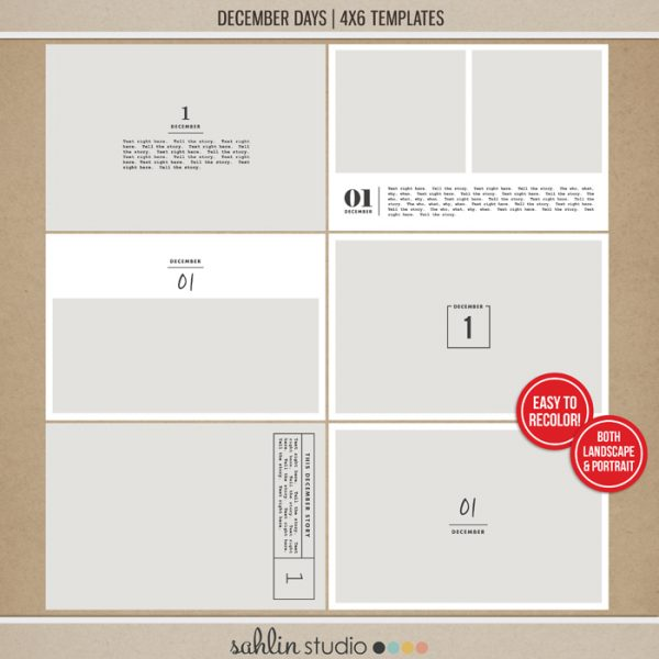 December Days 4x6 Templates by Sahlin Studio - Perfect for documenting your winter / Christmas scrapbooks, Project Life albums and December Daily pages!!