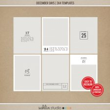 December Days 3x4 Templates by Sahlin Studio - Perfect for documenting your winter / Christmas scrapbooks, Project Life albums and December Daily pages!!