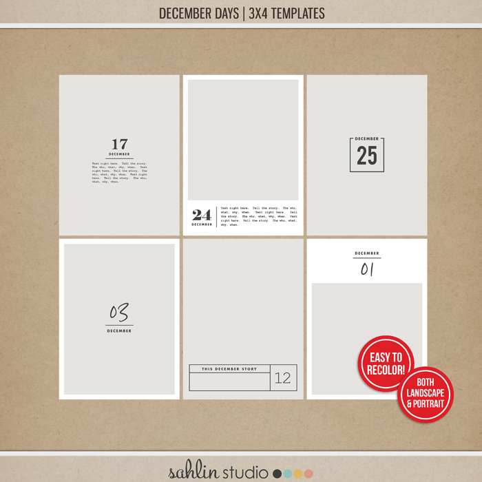 December Days 3x4 Templates by Sahlin Studio