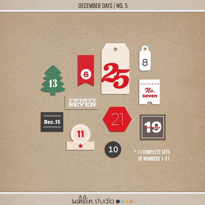 December Days Numbers No 5 by Sahlin Studio - Perfect for documenting your winter / Christmas scrapbooks, Project Life albums and December Daily pages!!