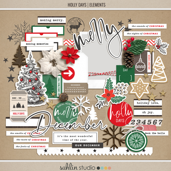 Holly Days | Elements by Sahlin Studio - Perfect for documenting your winter / Christmas scrapbooks, Project Life albums and December Daily pages!!