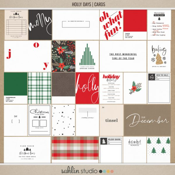 Holly Days | Journal Cards by Sahlin Studio - Perfect for documenting your winter / Christmas scrapbooks, Project Life albums and December Daily pages!!