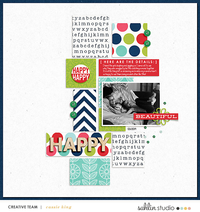 digital scrapbooking layout created by cassie king featuring February 2020 FREE Template by Sahlin Studio