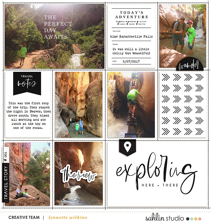 The perfect Day awaits digital Project Life scrapbook page layout using Exploring - a travel collection by Sahlin Studio
