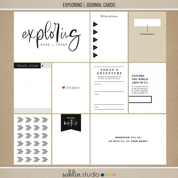 Exploring (Journal Cards) by Sahlin Studio - Perfect for all of your travels in your Smash Books, Project Life album or digital scrapbooking!!