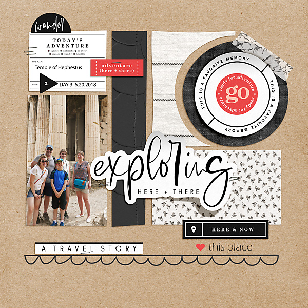 Exploring Here and There digital scrapbook page layout using Exploring - a travel collection by Sahlin Studio