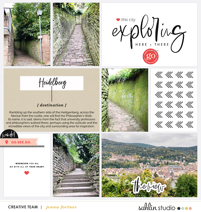 Exploring Here and There Project Life digital scrapbook page layout using Exploring - a travel collection by Sahlin Studio