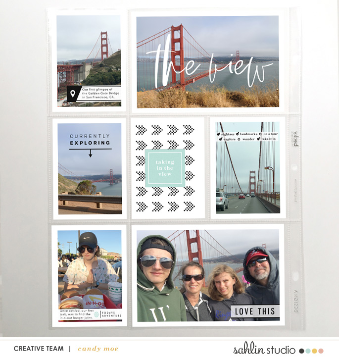 The View Today Adventure digital scrapbook page layout using Exploring - a travel collection by Sahlin Studio