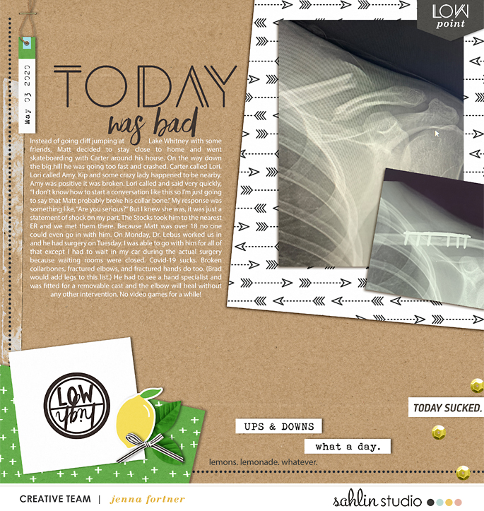 digital scrapbooking layout created by jenna featuring Highs and Lows by Sahlin Studio