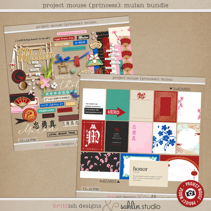 Project Mouse (Princess) Mulan | BUNDLE by Britt-ish Designs and Sahlin Studio - Perfect for documenting Disney Mulan, China or other magical moments in your Project Life / Project Mouse album!!