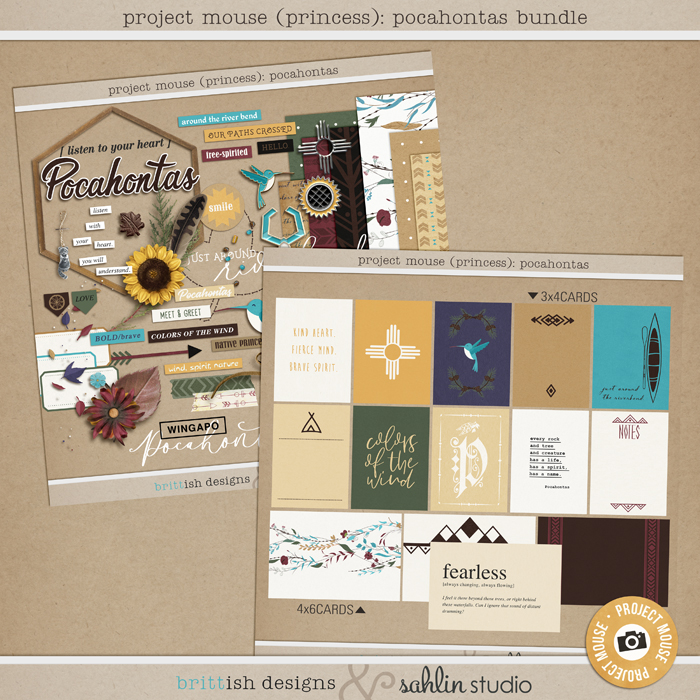 Project Mouse (Princess) Pocahontas | BUNDLE by Britt-ish Designs and Sahlin Studio - Perfect for documenting Disney Pocahontas, Fall or other magical moments in your Project Life / Project Mouse album!!