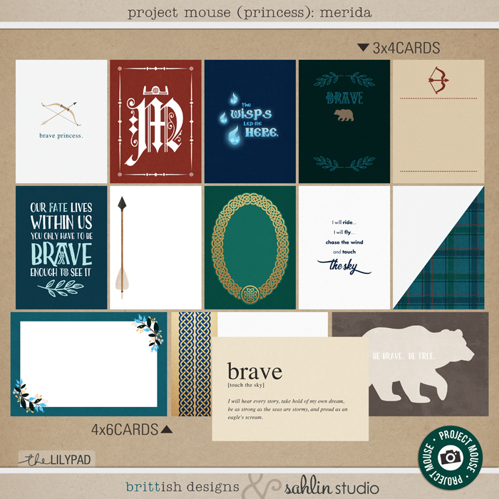 Project Mouse (Princess) Merida | Journal Cards by Britt-ish Designs and Sahlin Studio - Perfect for documenting Disney Brave, Merida, Scotland or other magical moments in your Project Life / Project Mouse album!!
