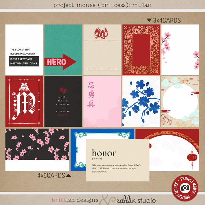 Project Mouse (Princess) Mulan | Journal Cards by Britt-ish Designs and Sahlin Studio - Perfect for documenting Disney Mulan, China or other magical moments in your Project Life / Project Mouse album!!