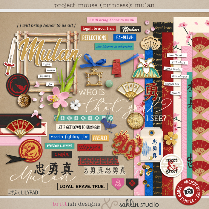 Project Mouse (Princess) Mulan | Kit by Britt-ish Designs and Sahlin Studio - Perfect for documenting Disney Mulan, China or other magical moments in your Project Life / Project Mouse album!!