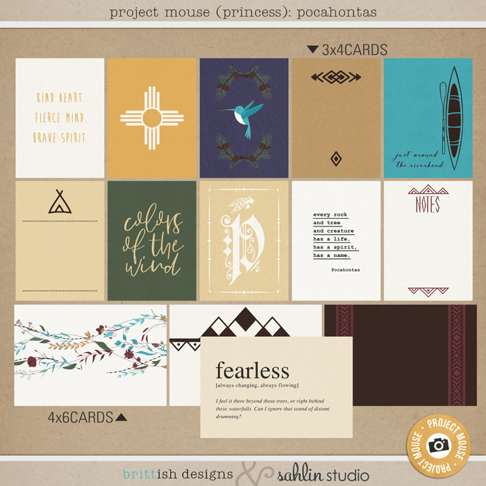 Project Mouse (Princess) Pocahontas | Journal Cards by Britt-ish Designs and Sahlin Studio - Perfect for documenting Disney Pocahontas, Fall or other magical moments in your Project Life / Project Mouse album!!