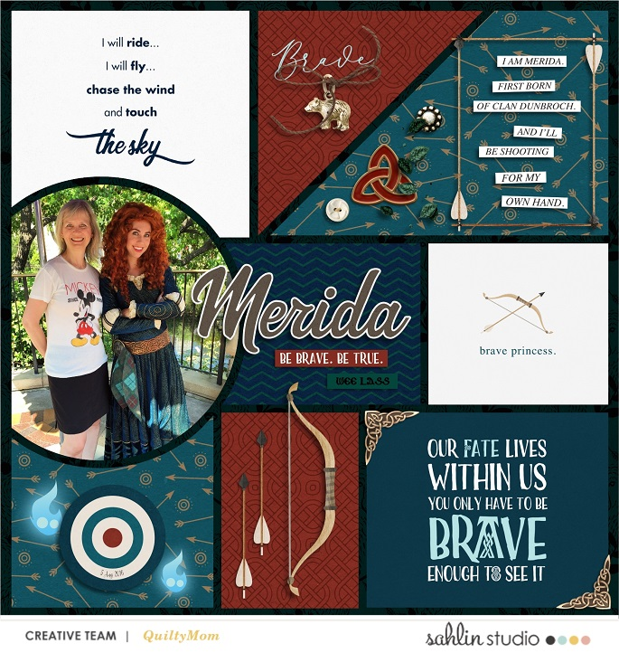 Merida Be Brave Be True - Touch the Sky digital Project Life scrapbook page layout using Project Mouse (Princess) Merida | Kit & Journal Cards by Britt-ish Designs and Sahlin Studio