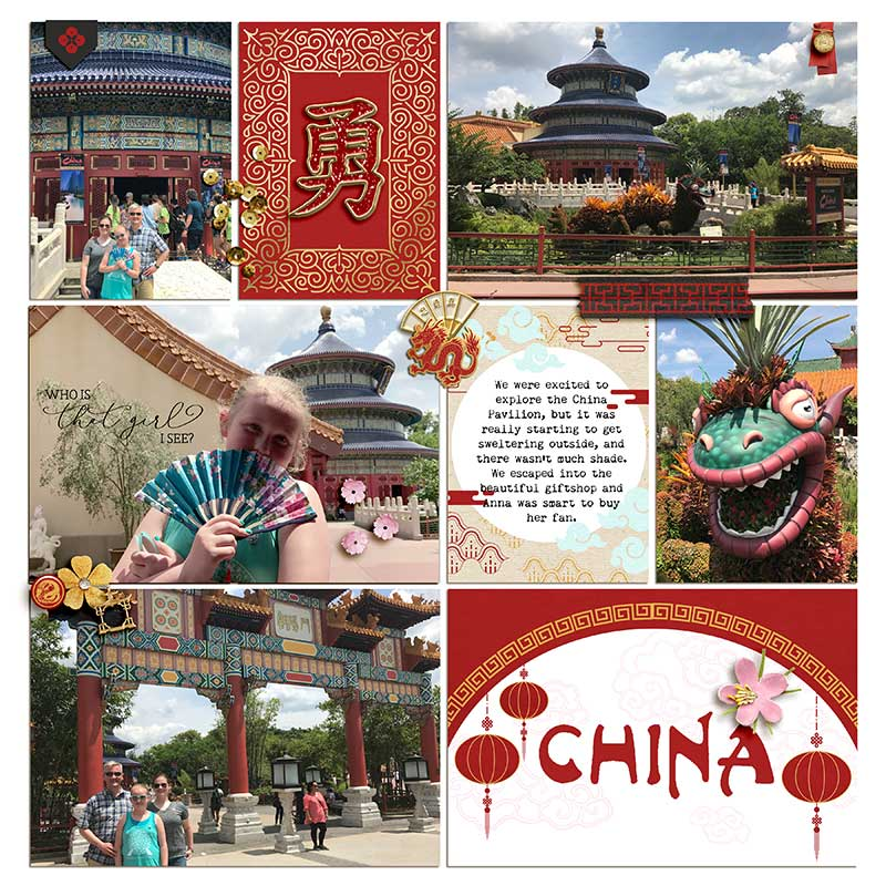 China digital Project Life scrapbook page layout using Project Mouse (Princess) Mulan | Kit & Journal Cards by Britt-ish Designs and Sahlin Studio