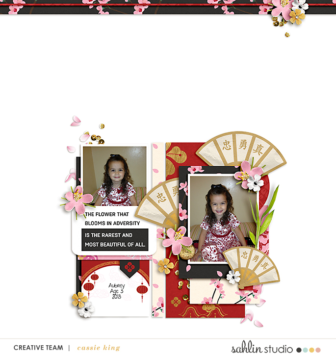 Honor The Flower That Blooms in Adversity - digital scrapbook page layout using Project Mouse (Princess) Mulan | Kit & Journal Cards by Britt-ish Designs and Sahlin Studio