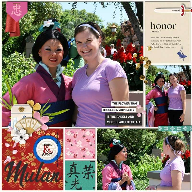 Honor The Flower That Blooms in Adversity - Loyal Brave True digital scrapbook page layout using Project Mouse (Princess) Mulan | Kit & Journal Cards by Britt-ish Designs and Sahlin Studio