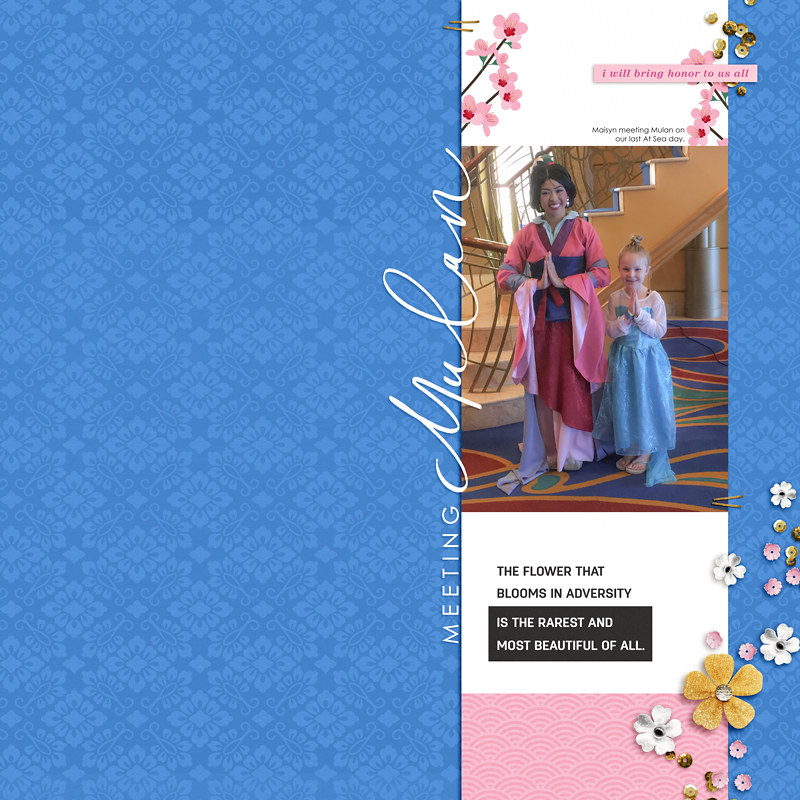 That Blooms in Adversity digital scrapbook page layout using Project Mouse (Princess) Mulan | Kit & Journal Cards by Britt-ish Designs and Sahlin Studio