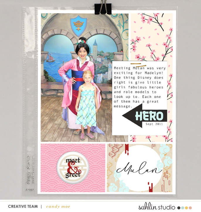 My Hero Mulan hybrid Project Life scrapbook page layout using Project Mouse (Princess) Mulan | Kit & Journal Cards by Britt-ish Designs and Sahlin Studio