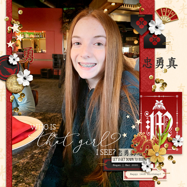 Loyal Brave True digital scrapbook page layout using Project Mouse (Princess) Mulan | Kit & Journal Cards by Britt-ish Designs and Sahlin Studio
