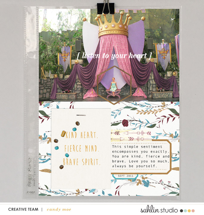 Listen to your heart digital Project Life scrapbook page layout using Project Mouse (Princess) Pocahontas | Kit & Journal Cards by Britt-ish Designs and Sahlin Studio