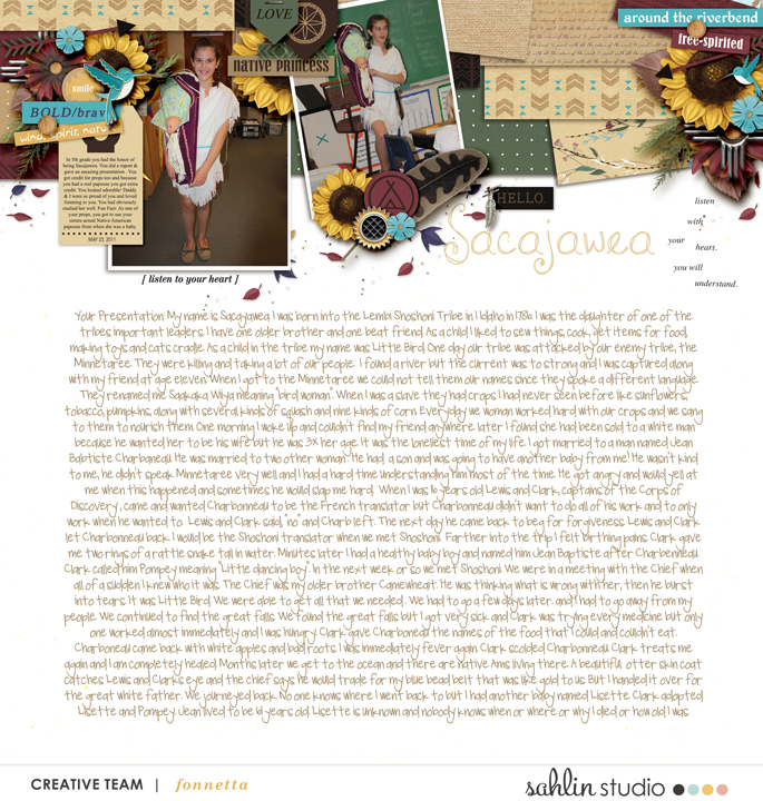 Sacajawea scrapbook page layout using Project Mouse (Princess) Pocahontas | Kit & Journal Cards by Britt-ish Designs and Sahlin Studio