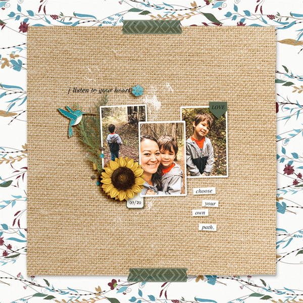 Listen to your heart digital scrapbook page layout using Project Mouse (Princess) Pocahontas | Kit & Journal Cards by Britt-ish Designs and Sahlin Studio
